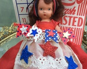 America the Beautiful 4th of July VINTAGE Nancy Ann STORYBOOK Doll Upcycled