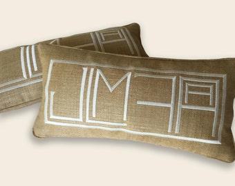 embroidery monogram unique custom couples 6 letters wedding pillow budoir linen silk
