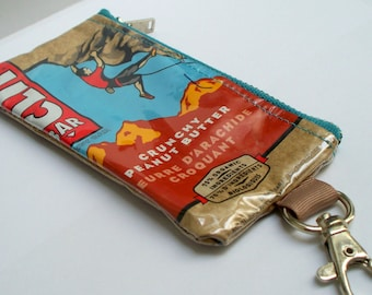 UPCYCLED Clif Bar bag RECYCLED into coin purse with keyring clasp