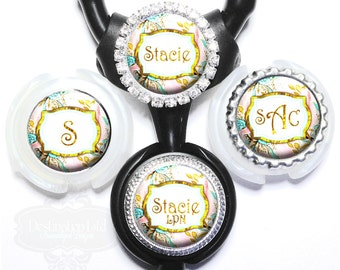 Stethoscope Id Tag - Personalized Pink and Gold Floral Littmann Nurse Identification with Name Monogram, Occupation Title (A030)