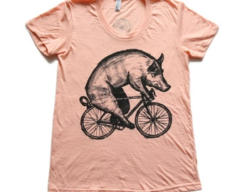 Pig on a Bicycle - Womens T Shirt, Ladies Tee, Tri Blend Tee, Handmade graphic tee, sizes s-xL