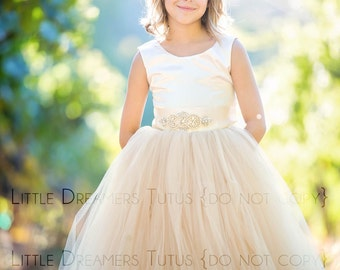 The Juliet Dress in Ivory Satin and Champagne Tulle with Rhinestone Sash - Flower Girl Tutu Dress