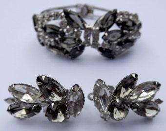Vintage Juliana Topaz Rhinestone Clamper Bracelet and Earrings Set Earrings Set Demi Parure D&E Juliana Delizza Elster