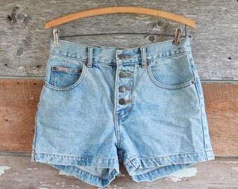 """high waisted denim shorts / 1990s denim / 28"""""""