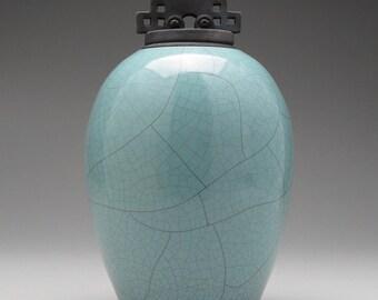 Ceramic lidded jar,urn, turquoise Green Raku Jar with lid,large urn, large jar, art pottery,wheel thrown,handmade
