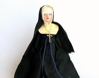 Vintage Nun Doll Hard Plastic Religious