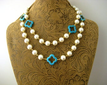 Versatile Long Wrap Layer Handmade Beaded Glass Pearl Chain In Cream, Turquoise Quatrefoil Cloverleaf, Quatrefoil Accents Layering Necklace