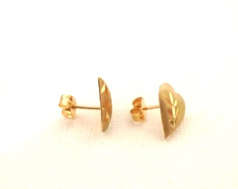 14K Yellow Gold Post Earrings NOS Vintage 80s Puffy Heart Brushed Etched Jewelry Retro Boho Chic Fun Fashion Never Used 14 karat Domed <3