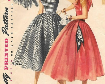 Simplicity 1044 1950s Full Skirt Sleeveless Dress Vintage Sewing Pattern Size 15 Bust 33 Square Neckline Rockabilly
