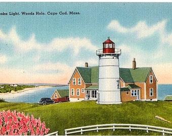 Cape Cod Vintage Postcard - Nobska Light in Woods Hole (Unused)