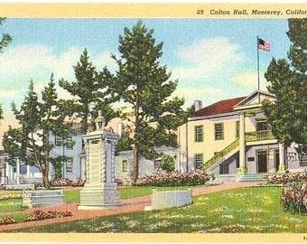 Vintage California Postcard - Colton Hall, Monterey (Unused)