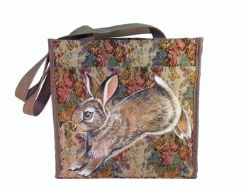 Vegan Hopping Bunny tote - handpainted, upcycled, roses design cotton canvas textured fabric market bag, shoulder bag, ooak, vegan-friendly