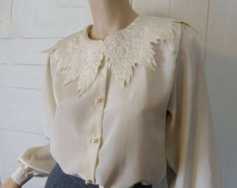 Fairy Secretary Blouse in Ivory- 1980s / 80s Off White Top- 30s Inspired- Long Sleeves
