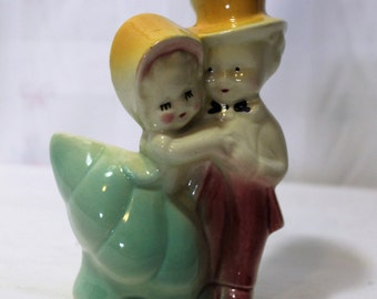 Vintage Dancing Girl and Boy Small Planter, Shawnee or Royal Copley Style