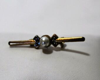 Vintage Faux Pearl Bar Pin With Black Enamel, Bar Brooch