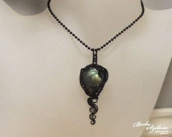 GOTHIC LABRADORITE NECKLACE - wire wrapped necklace,  gothic necklace, black victorian necklace, gothic pendant, gothic jewelry, ooak