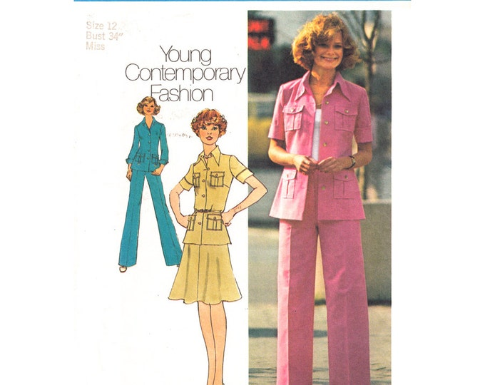 1970s Shirt Jacket Flared Skirt Pants Pattern Simplicity 6843 Trouser Suit Womens Bust 34