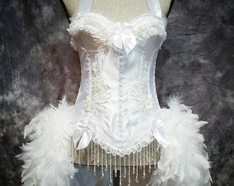 Plus Size White wedding dress corset feather costume Victorian White Swan 2XL