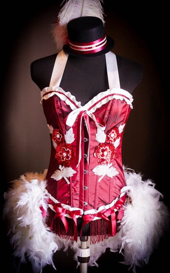 RED ROSE - White Valentine's Day Burlesque Corset Costume dress  S, M, L, XL