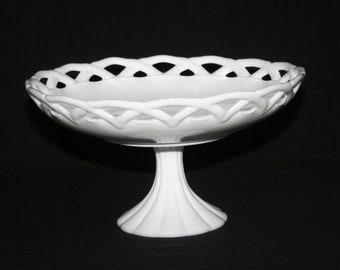 Milk Glass Pedestal Bowl, Glass Compote, Fruit Bowl, Wedding Centerpiece,