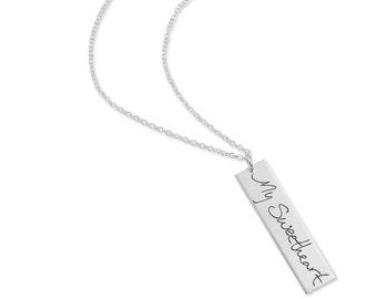 Custom signature silver necklace - Handwriting Necklace - Personalized Silver Bar Necklace  - Signature Necklace - Memorial Custom Rectangle