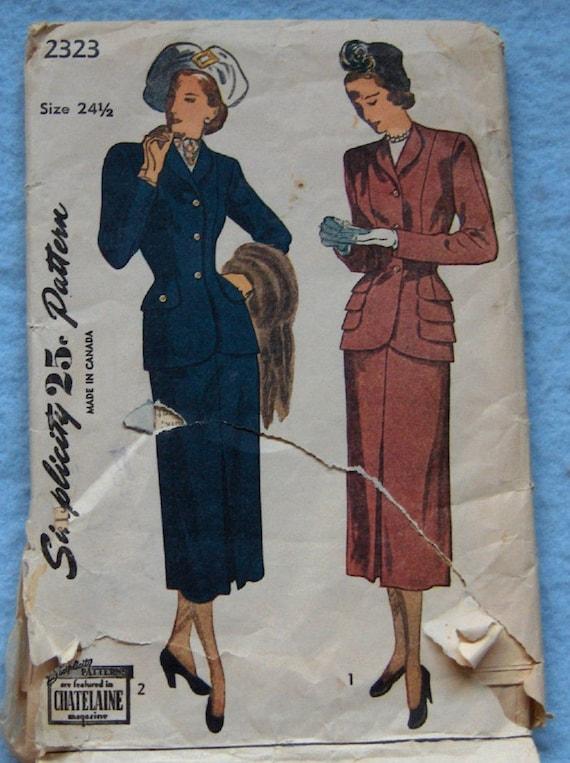 Vintage 40s Simplicity pattern 2323 Elegant 2-PIECE SUIT  sz 24 1/2