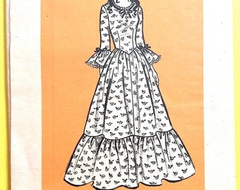 Anne Adams 9437 70s full-length dress zips in back and has ruffles at the hem and at the bottom of the sleeve Vintage Sewing Pattern Bust 38