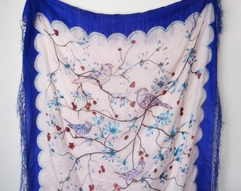 Blue 1970s Bebe London Large Fringed Silk Bird Scarf