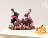 Chocolate Easter Rabbit Family Display (C) - Miniature Food in 12th Scale for Dollhouse