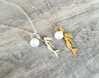 Mermaid Necklace, Mermaid Jewelry, Nautical Jewelry for Women, Sterling Silver Mermaid Necklace, Pearl Necklace, Layering Necklace