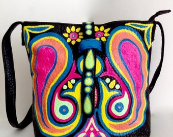 Bohemian crossbody bag with hand painted paisley, black messenger bag, customise your own bag, custom painting on leather