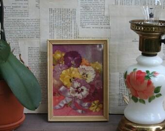 Vintage Pansy Floral Framed Picture