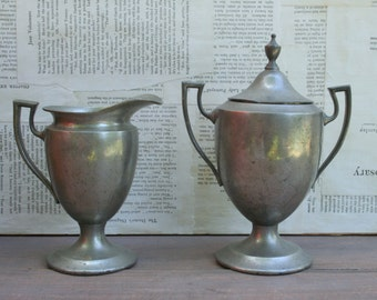Beautiful Art Deco Style Puritan Pewter Creamer and Sugar