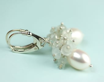 Aquamarine Cluster Pearl drop lever back earrings by art4ear, gift for her under 50 dollars, free shipping in Canada, pearl drop earrings