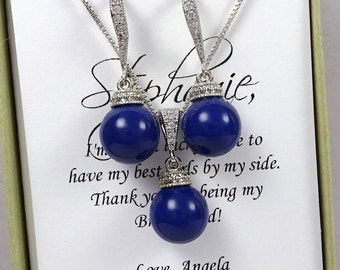 Royal Blue Bridesmaid Jewelry Set, Swarovski Dark Lapis Pearl Wedding Jewelry Set, Royal Blue Bridal Jewelry Set, Mother of the Bride Gift