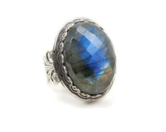 Labradorite Cameo Ring with Locket & Adjustable Antiqued Sterling Silver Plated Band - Gothic, Boho, Bohemian, Keepsake, Gemstone, Mourning