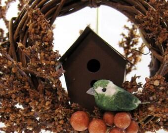 Bird and Rustic Birdhouse Christmas Ornament 156