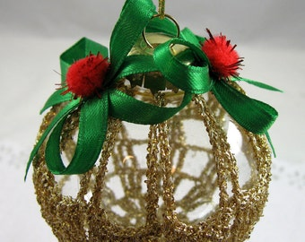 Crochet Covered Clear Glass Ornament 150