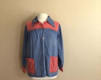 Vintage 70s CALICO SMOCK Shirt / Womens Large
