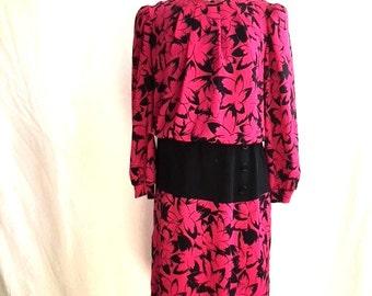 Vintage 80s MAGENTA and BLACK Floral Dress