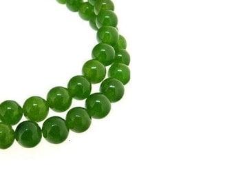 6MM Green Jade Gemstone Strand  , 13 Inch Strand