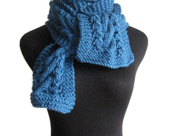 Sapphire Blue Hand Knit Scarf, The Stef Scarf, Blue Cable and Lace, Blue Scarf, Vegan Scarf, Fall Fashion, Womens Scarf, Winter Scarf
