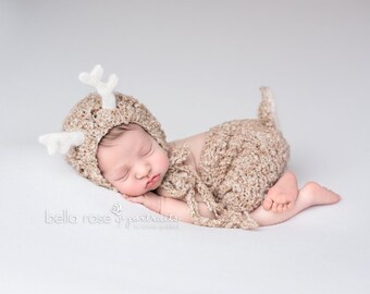 Deer Newborn Set Boy Hat Shorts Reindeer Baby Girl Animal Diaper Cover Antlers Fall Photo Prop Rudolph Winter Christmas Costume Fawn Bonnet