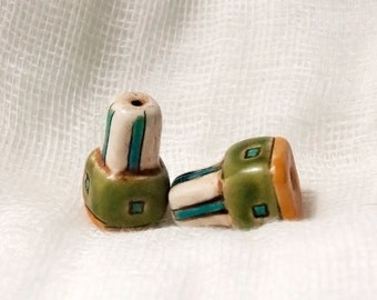 Pair of Handmade Green and Yellow Rustic Boho Beads