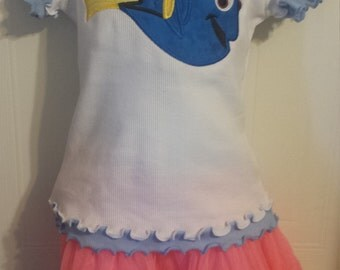 Girl's Finding Nemo Finding Dory Birthday Personalized Shirt Onesie tank
