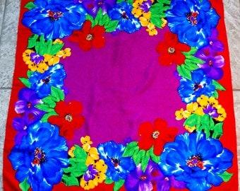 Vintage Liz Claiborne Silk Scarf Floral Print Bold Boho Sassy Red Blue Yellow Green