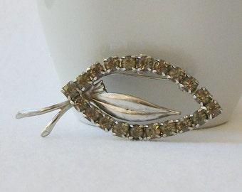 Vintage Gray Rhinestone Brooch, Vintage Jewelry