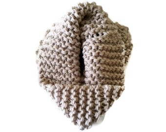 CLEARANCE SALE - Chunky Handknit Knitted Cowl Scarf for Women /Teens in Linen, Winter Accessories, Infinity Scarf, Chunky Cowl one of a kind