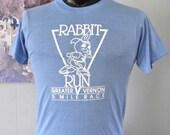 Amazing Vintage Tshirt 80s Tee Near Burnout Rabbit Road Race Vernon Hartford CT Connecticut Running Sports Powder Blue MEDIUM SMALL