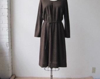 vintage sheer nubby brown day dress